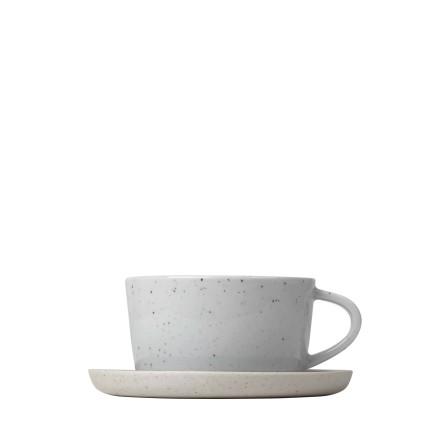Set 2 st kaffekoppar & fat, Stengods, SABLO