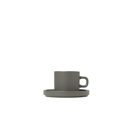 Set med två kaffekoppar & fat, 4 pcs. - Pewter, MIO