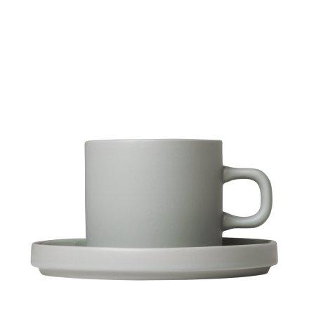 MIO,Set med 2 kaffemuggar & fat, 4 pcs. Mirage Grey