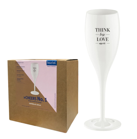 Champagneglas med print 6-pack 100ml, Think Less Love More