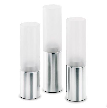 FARO, Set/3 Ljuslyktor, Rostfritt stål/Glas