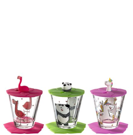 Bambini Set 9 delar - Glas, Lock & Underlägg