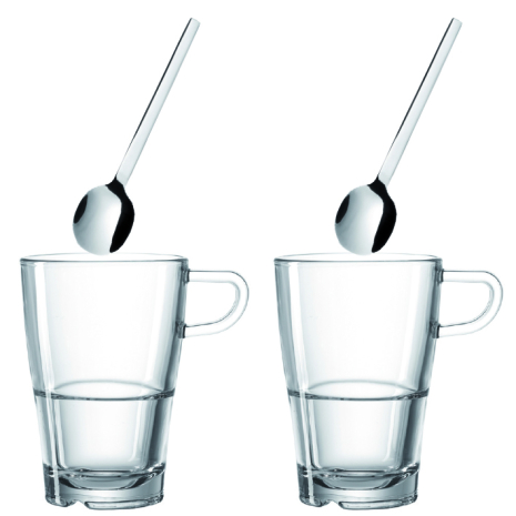 Kaffeset - Kaffekopp och sked x 2 - Latte Macchiato
