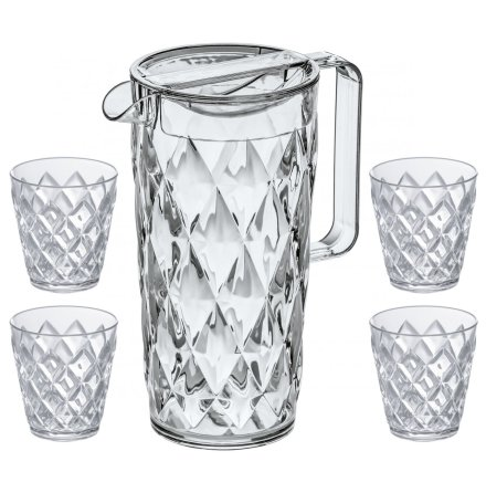 CRYSTAL Set, Karaff inkl 4 glas, Crystal Clear